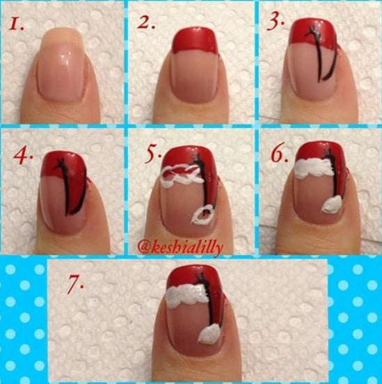 Santa's Hat - 20 Fantastic DIY Christmas Nail Art Designs That Are Borderline Genius