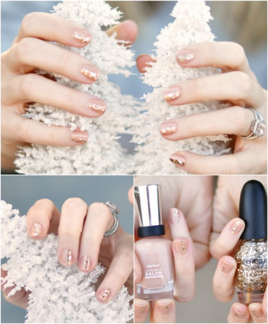 Elegant Sparkle - 20 Fantastic DIY Christmas Nail Art Designs That Are Borderline Genius