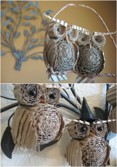 Cardboard Owls - 20 Genius DIY Recycled and Repurposed Christmas Crafts