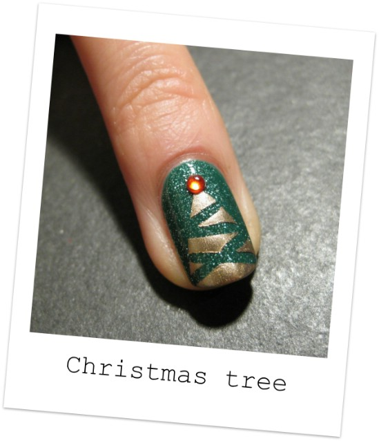 Abstract Tree - 20 Fantastic DIY Christmas Nail Art Designs That Are Borderline Genius