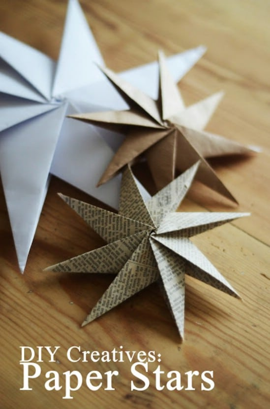 20 hopelessly adorable diy christmas ornaments made from paper diy 3d stars solutioingenieria Choice Image