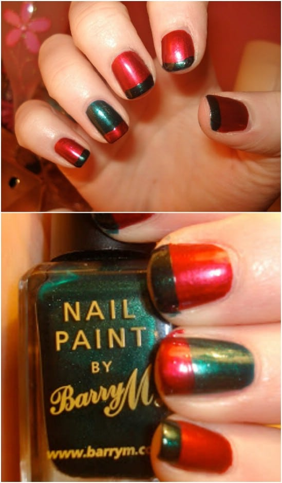 Alternating French Mani - 20 Fantastic DIY Christmas Nail Art Designs That Are Borderline Genius