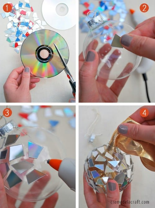 CD Ornaments - 20 Genius DIY Recycled and Repurposed Christmas Crafts