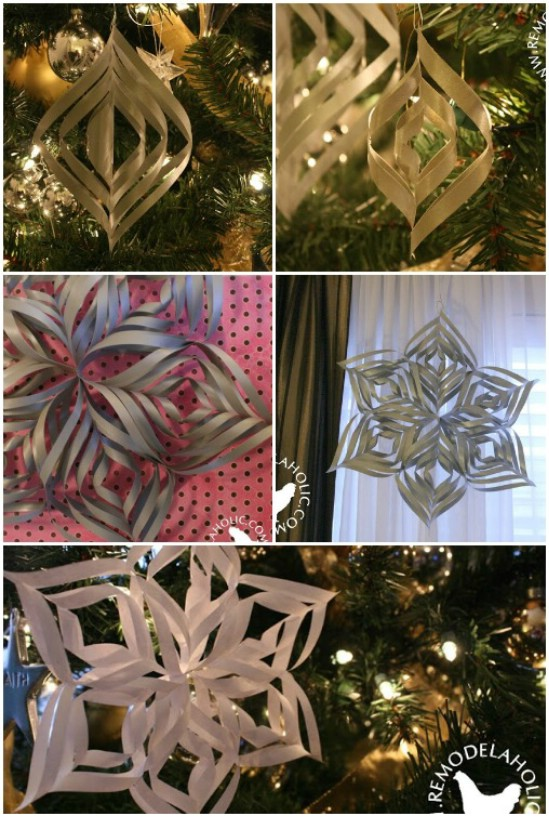 20 hopelessly adorable diy christmas ornaments made from paper diy twisted snowflake solutioingenieria Choice Image
