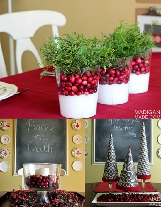 21 beautifully festive christmas centerpieces you can for Artificial cranberries decoration