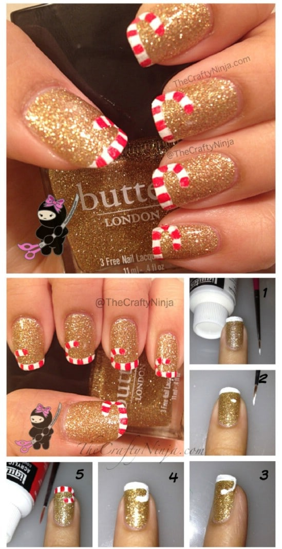 20 fantastic diy christmas nail art designs that are borderline candy cane tips 20 fantastic diy christmas nail art designs that are borderline genius solutioingenieria Image collections