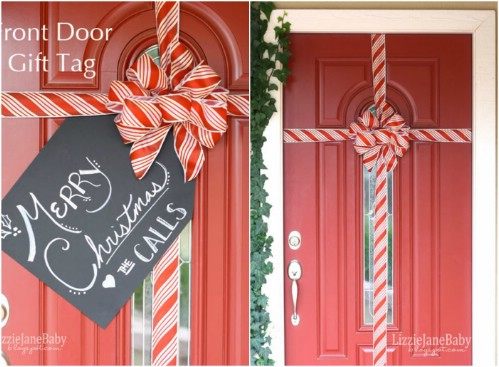 Gift Wrapped Door - 20 Magical DIY Christmas Home Decorations You'll Want Right Now