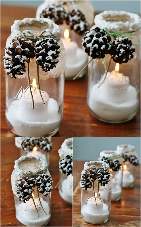 snowcapped pinecones 12 magnificent mason jar christmas decorations you can make yourself - Christmas Decorations To Make Yourself