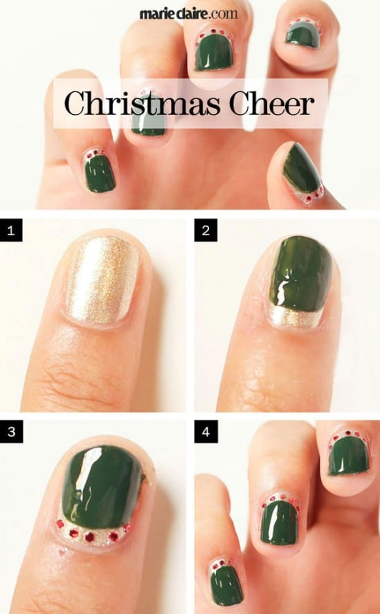 Good Old Green and Red - 20 Fantastic DIY Christmas Nail Art Designs That Are Borderline Genius