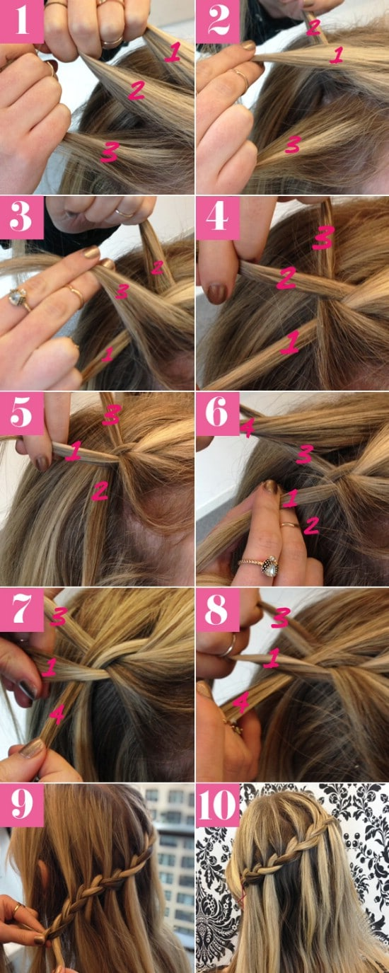 Waterfall Braid - 12 Super Cute DIY Christmas Hairstyles for All Lengths