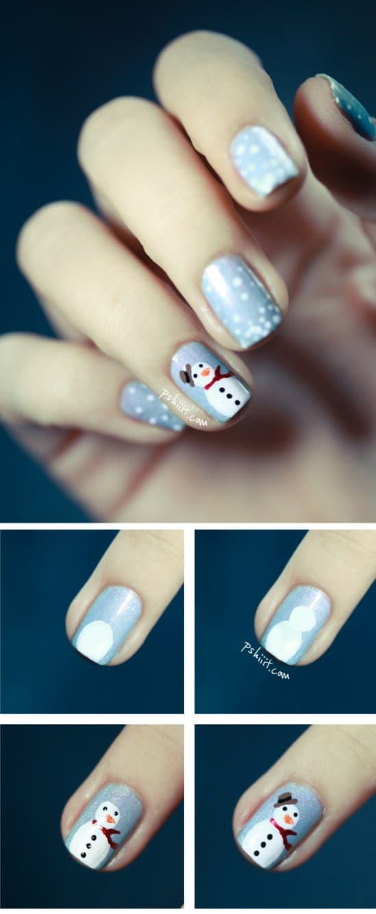 Frosty the Snowman - 20 Fantastic DIY Christmas Nail Art Designs That Are Borderline Genius