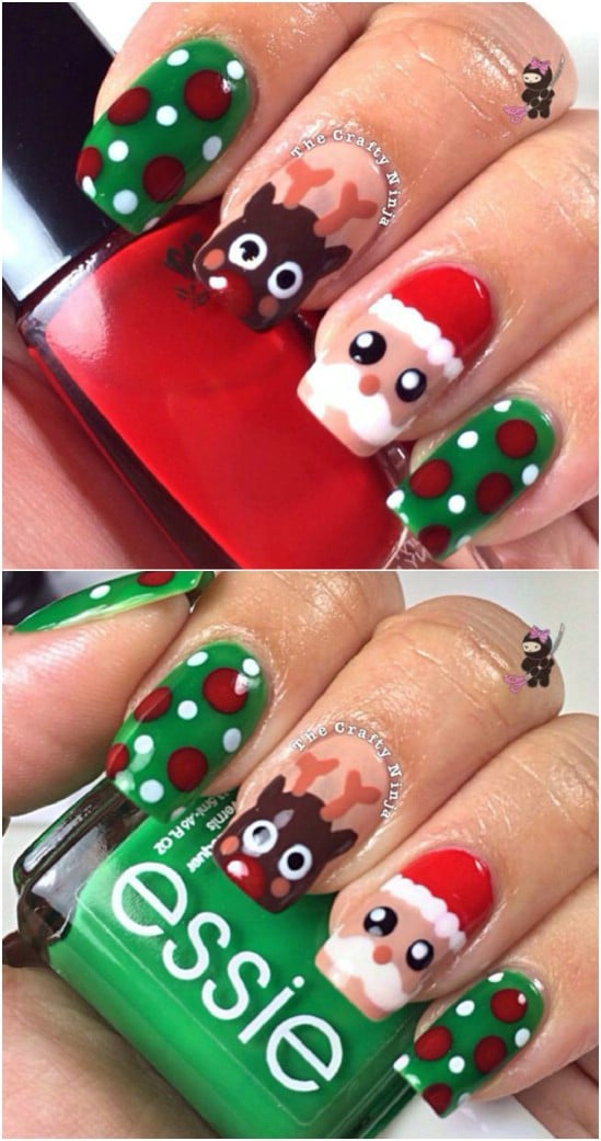 Santa and Rudolph - 20 Fantastic DIY Christmas Nail Art Designs That Are  Borderline Genius - 20 Fantastic DIY Christmas Nail Art Designs That Are Borderline