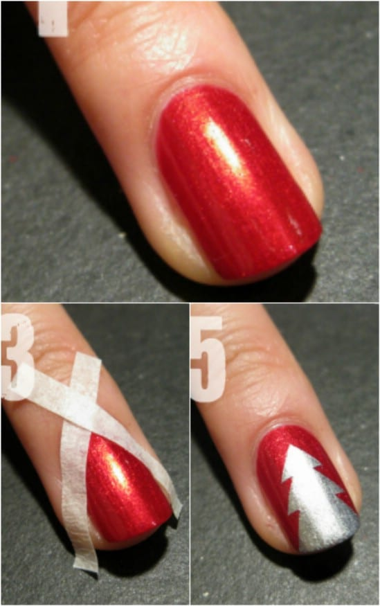 20 fantastic diy christmas nail art designs that are borderline simple tree 20 fantastic diy christmas nail art designs that are borderline genius prinsesfo Image collections