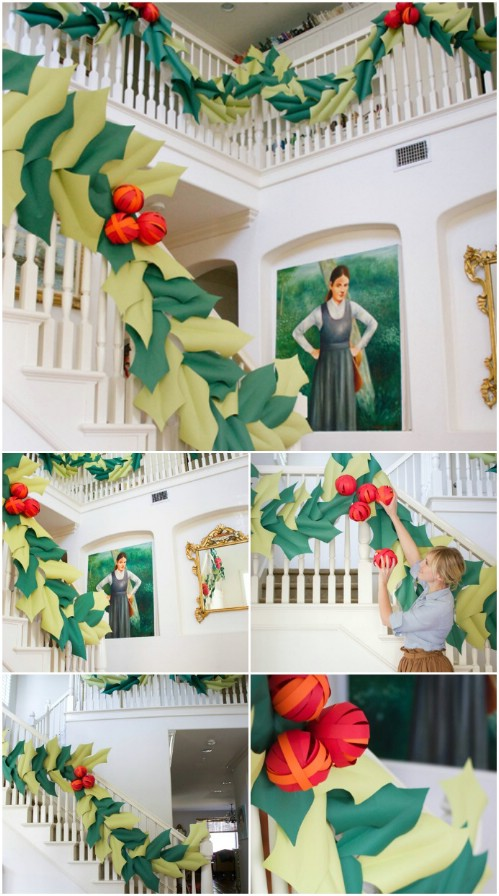 Holly Stairwell Garland - 20 Magical DIY Christmas Home Decorations You'll Want Right Now