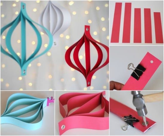 20 hopelessly adorable diy christmas ornaments made from for Paper christmas decorations to make at home