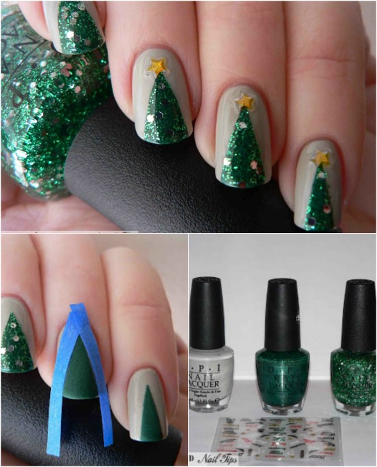 20 fantastic diy christmas nail art designs that are borderline realistic tree 20 fantastic diy christmas nail art designs that are borderline genius prinsesfo Gallery