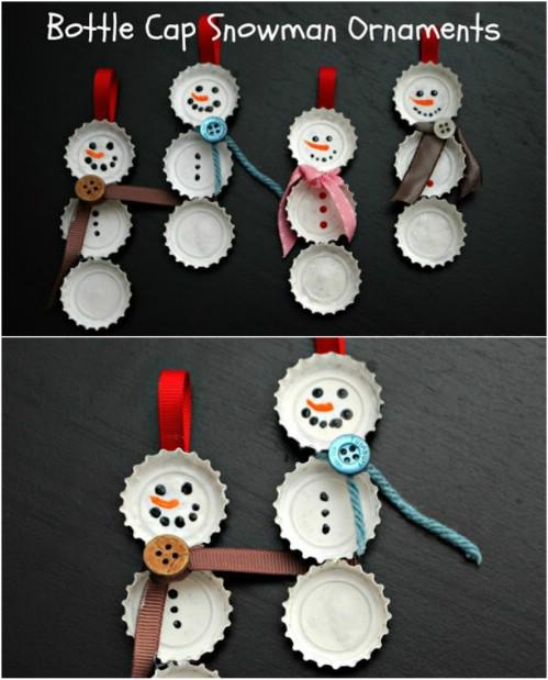 Bottle Cap Snowmen - 20 Genius DIY Recycled and Repurposed Christmas Crafts
