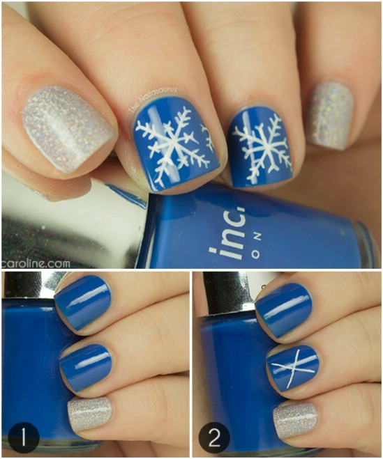 Soft Snowflakes - 20 Fantastic DIY Christmas Nail Art Designs That Are Borderline Genius