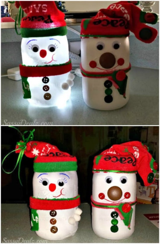 snowman light 12 magnificent mason jar christmas decorations you can make yourself - Christmas Decorations To Make Yourself
