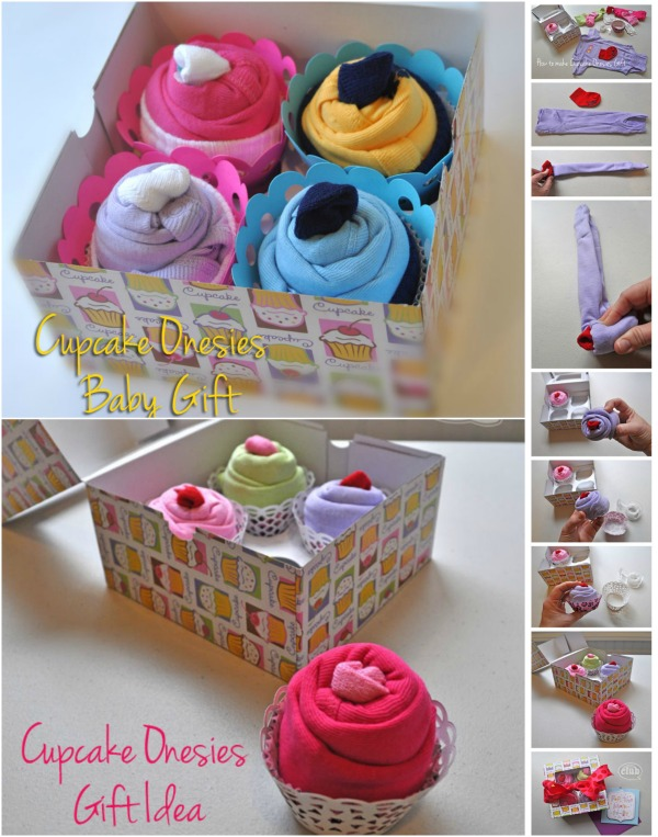 Adorable DIY Baby Gift Idea: How to Roll up Onesies like Cupcakes - Probably the cutest baby gift idea ever.