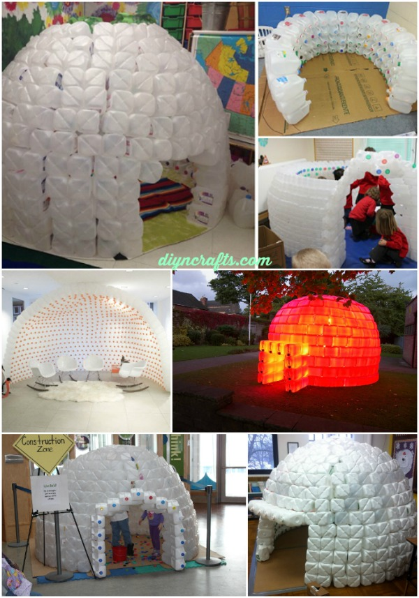 Recycling at its finest how to build a magnificent milk for How to build an igloo out of milk jugs