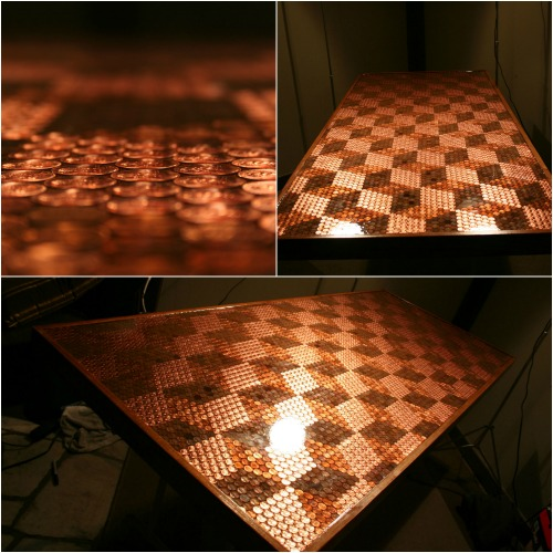 Delicieux Finished Tabletop   How To Make A Penny Tabletop With 5000 Pennies And Some  Spare Time