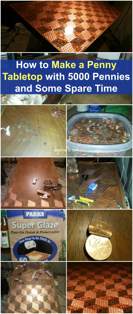 Step By Step Instructions   How To Make A Penny Tabletop With 5000 Pennies  And Some