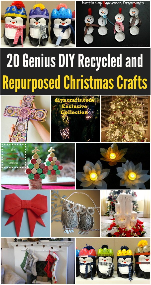 20 Genius Diy Recycled And Repurposed Christmas Crafts Diy Crafts