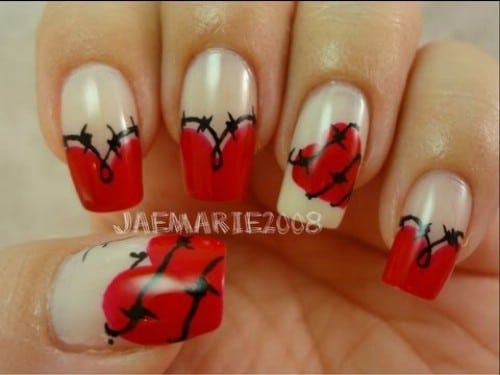 20 ridiculously cute valentines day nail art designs diy crafts barbed wire heart 20 ridiculously cute valentines day nail art designs solutioingenieria Choice Image