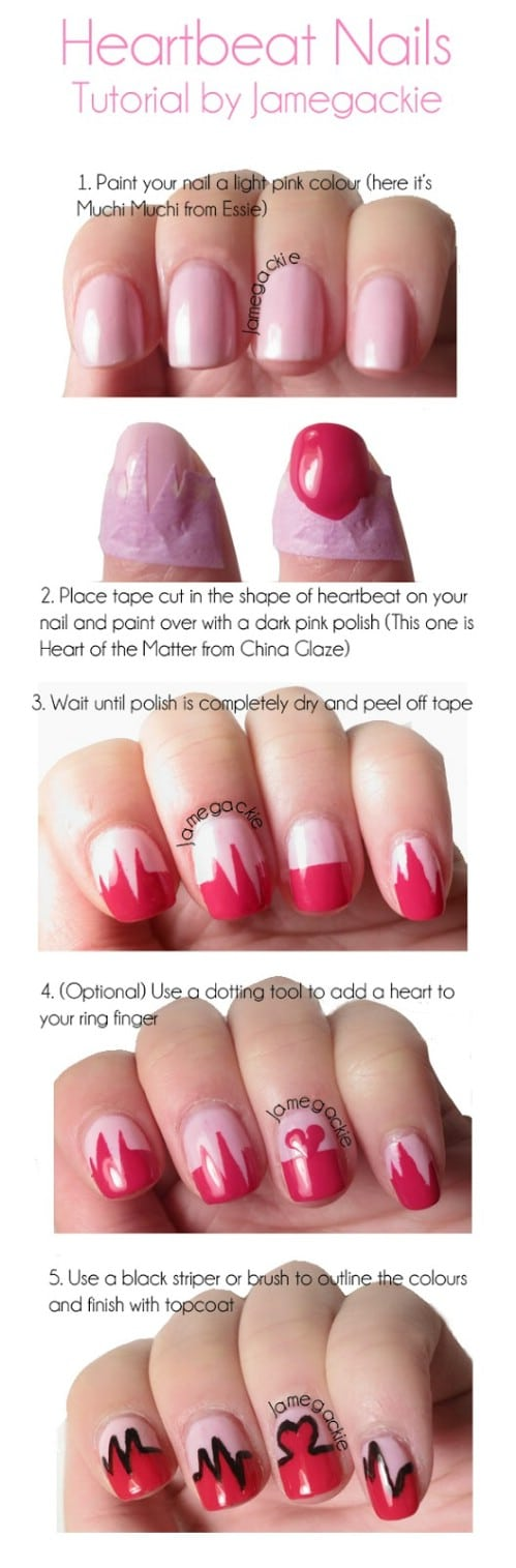 Heartbeat - 20 Ridiculously Cute Valentine's Day Nail Art Designs