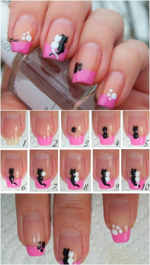 Cats in Love - 20 Ridiculously Cute Valentine's Day Nail Art Designs - 20 Ridiculously Cute Valentine's Day Nail Art Designs - DIY & Crafts