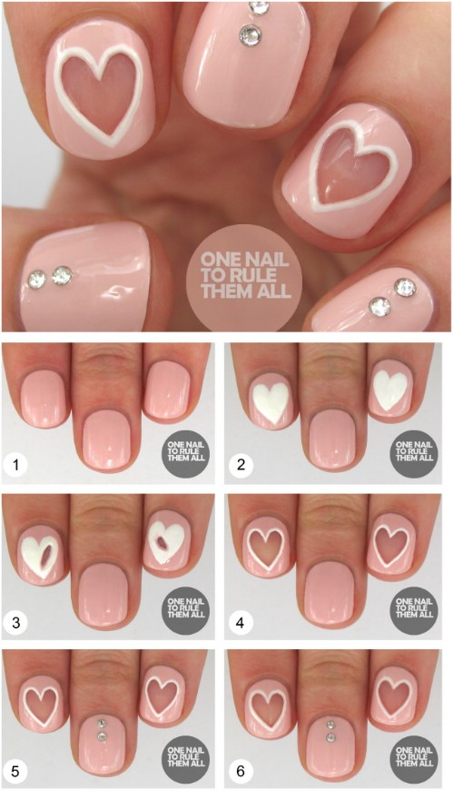 Negative Space Hearts - 20 Ridiculously Cute Valentine's Day Nail Art  Designs - 20 Ridiculously Cute Valentine's Day Nail Art Designs - DIY & Crafts