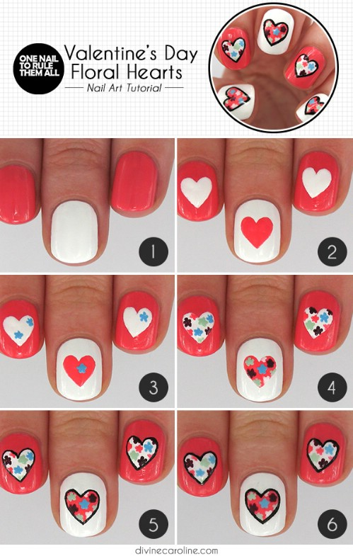 Floral Hearts - 20 Ridiculously Cute Valentine's Day Nail Art Designs - 20 Ridiculously Cute Valentine's Day Nail Art Designs - DIY & Crafts