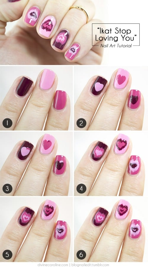 20 ridiculously cute valentines day nail art designs diy crafts ikat hearts 20 ridiculously cute valentines day nail art designs solutioingenieria Choice Image