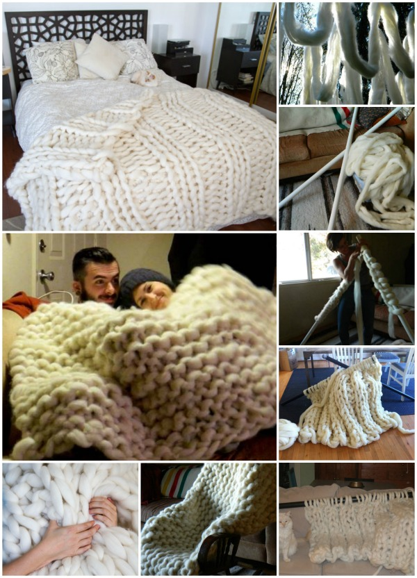 Knitting Redditor : See how she knitted this cozy giant blanket with pvc pipes