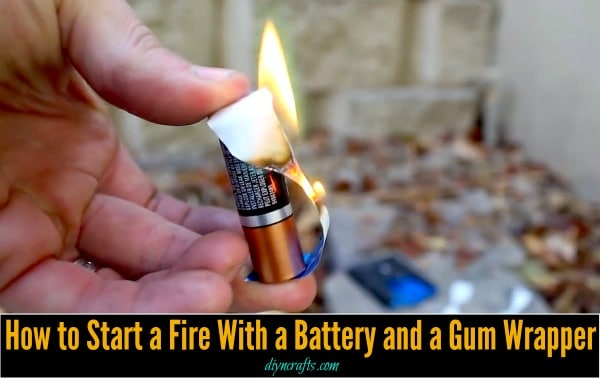 Survival Life Hack How To Start A Fire With A Battery And