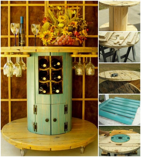 Do It Yourself Home Design: How To Turn An Old Wire Spool Into A Beautiful Wine Table