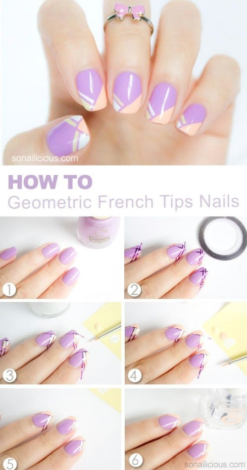 Top 101 most creative spring nail art tutorials and designs diy geometric tips prinsesfo Image collections