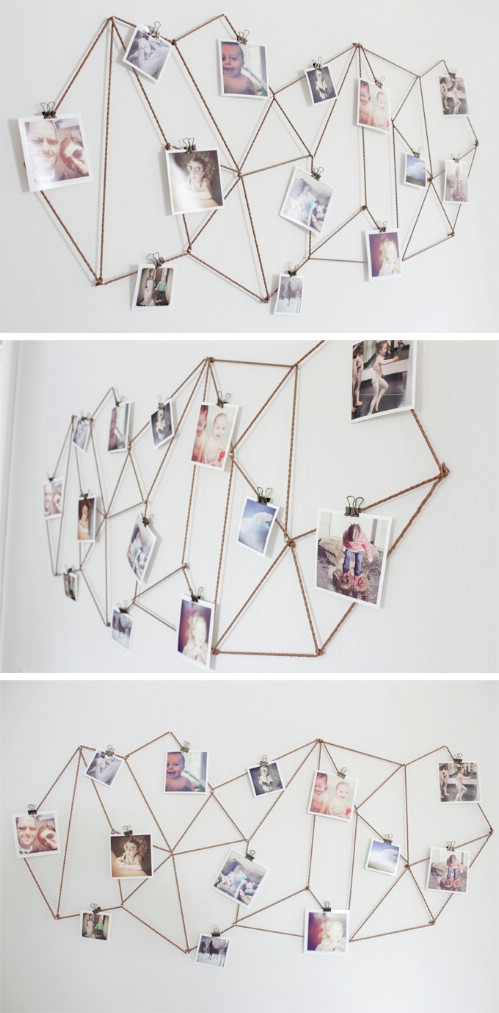 Geometric Wiring - 20 Cleverly Creative Ways to Display Your Cherished Photos