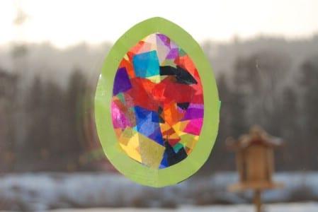 Tissue paper Easter egg collage