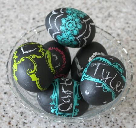 Chalkboard paint eggs