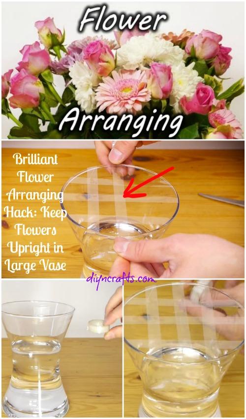 Brilliant Flower Arranging Hack Keep Flowers Upright In Large Vase