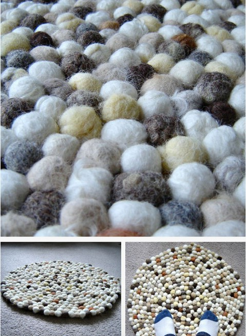 Felt Faux Stone Rug - 30 Magnificent DIY Rugs to Brighten up Your Home