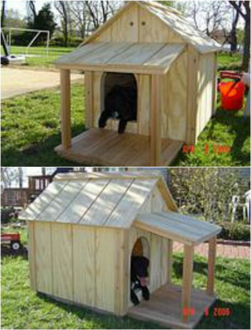 15 brilliant diy dog houses with free plans for your furry for Dog kennel shed combo plans