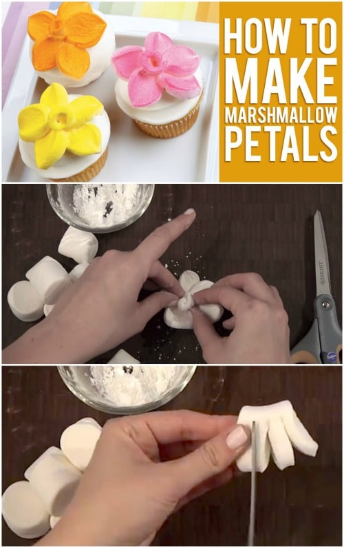 So happy I found this tutorial... Sweet Trick: How to Top Your Cupcakes with Marshmallow Flowers
