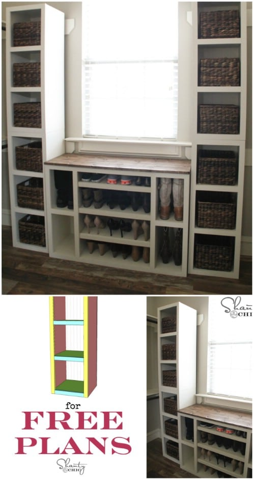 Modular shoe storage cubbies - 50 Decorative Rustic Storage Projects For a Beautifully Organized Home