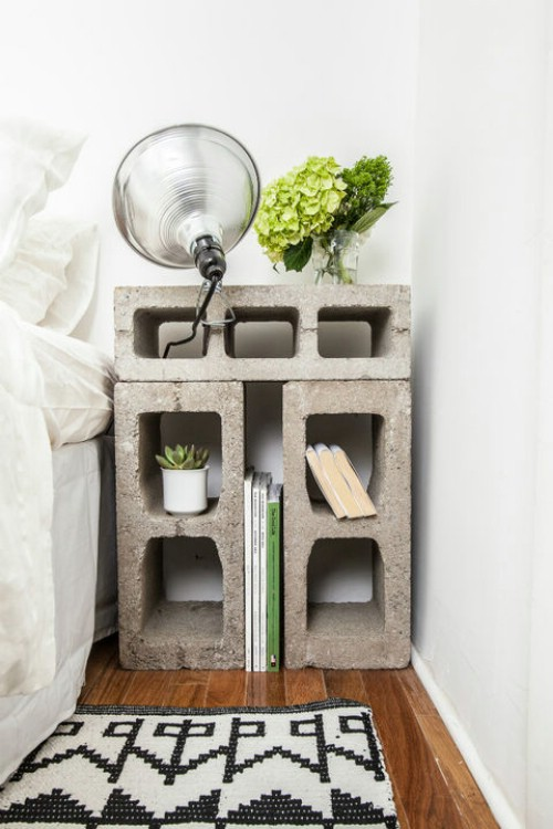Nightstand - 17 Creative Ways to Use Concrete Blocks in Your Home