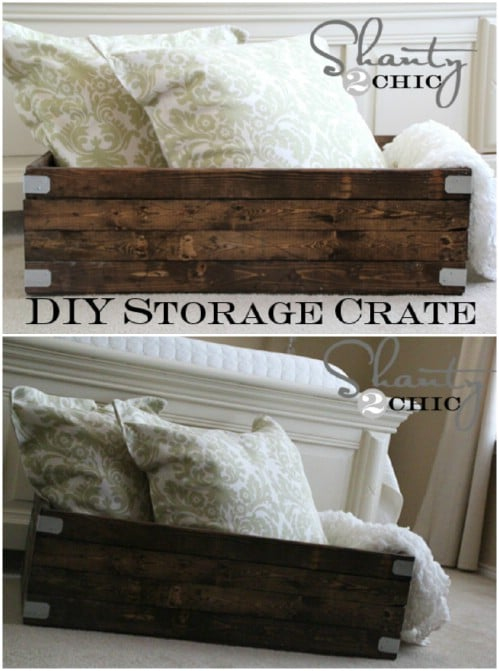 Wonderful Quick And Easy Storage Crate   50 Decorative Rustic Storage Projects For A  Beautifully Organized Home