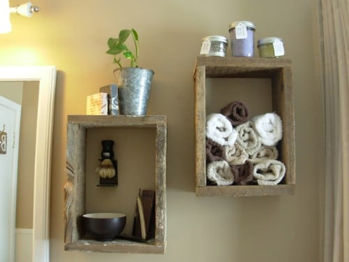 Rough cut rustic wood shelves - 50 Decorative Rustic Storage Projects For a Beautifully Organized Home