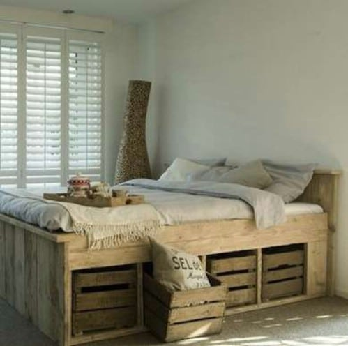 Rustic bed with crate storage - 50 Decorative Rustic Storage Projects For a Beautifully Organized Home